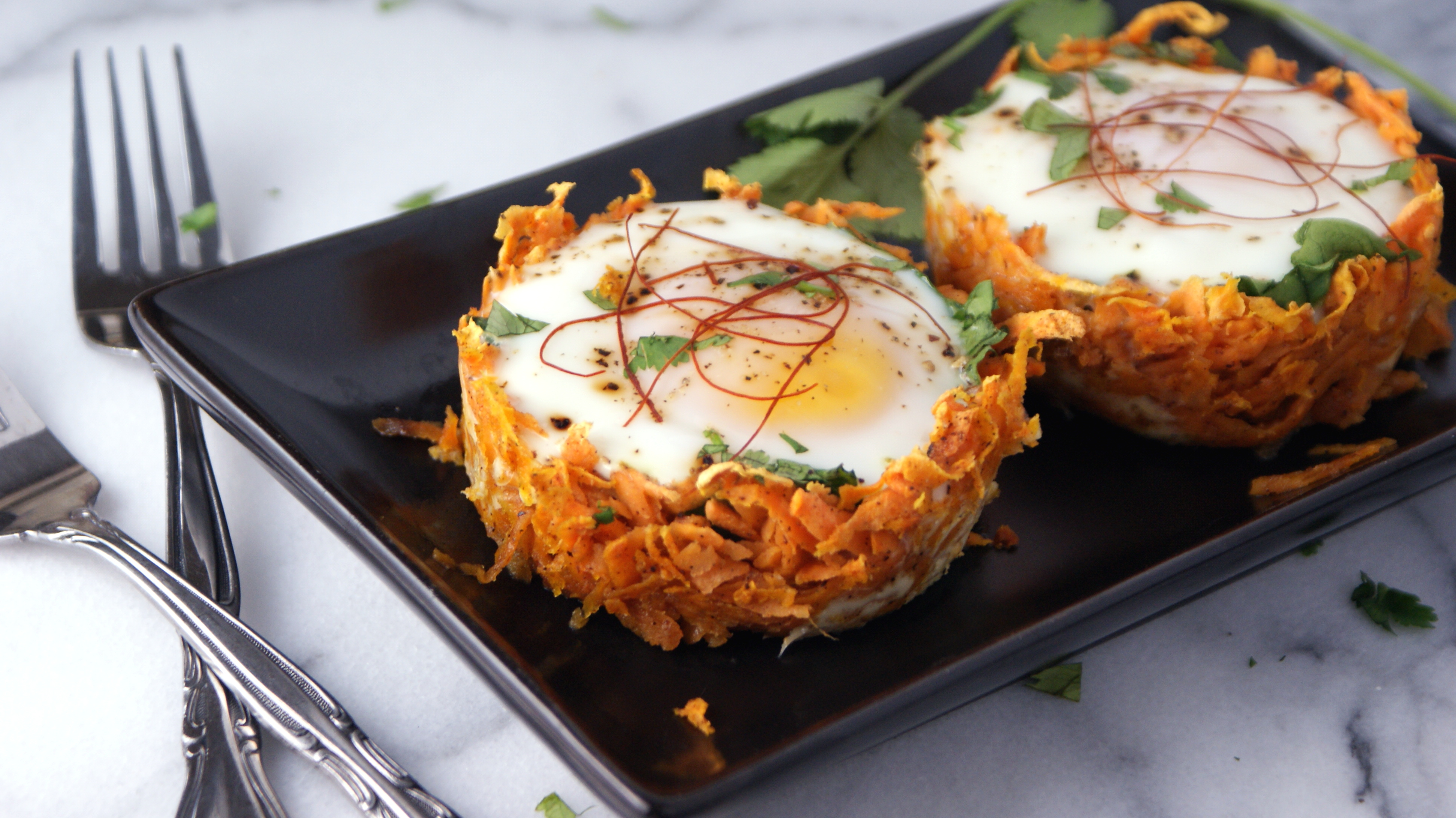 Baked Sweet Potato Egg Nests Cooking Up Clean